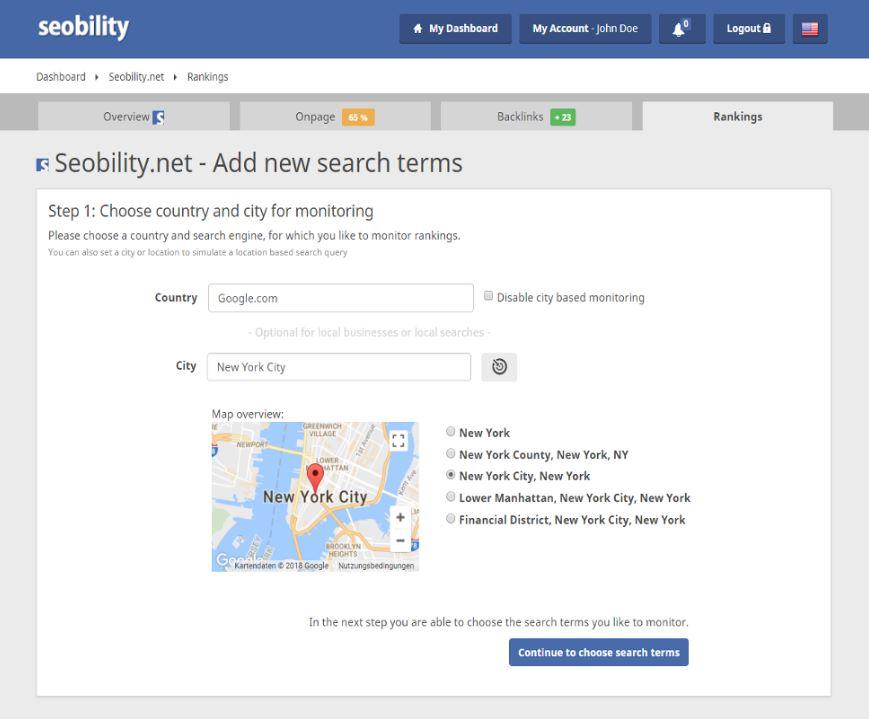 Seobility tool cho phép bạn liên tục theo dõi chính xác